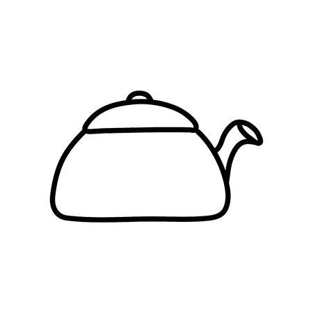 kettle icon over white background, line style, vector illustration Vettoriali