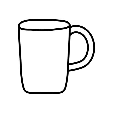 coffee mug icon over white background, line style, vector illustration