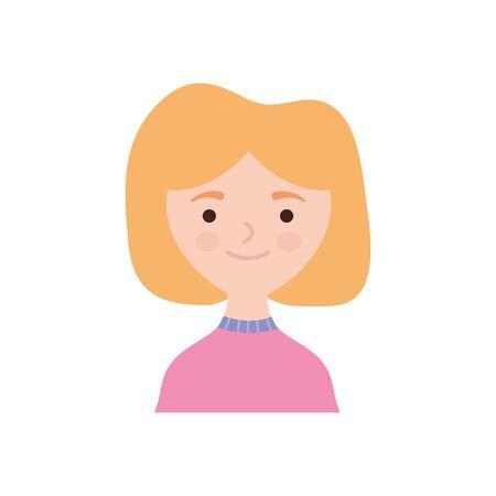 cartoon woman smiling icon over white background, flat style, vector illustration Illustration