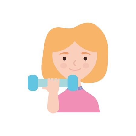 cartoon woman lifting dumbbells over white background, flat style, vector illustration