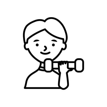 cartoon man lifting dumbbells icon over white background, line style, vector illustration Ilustrace