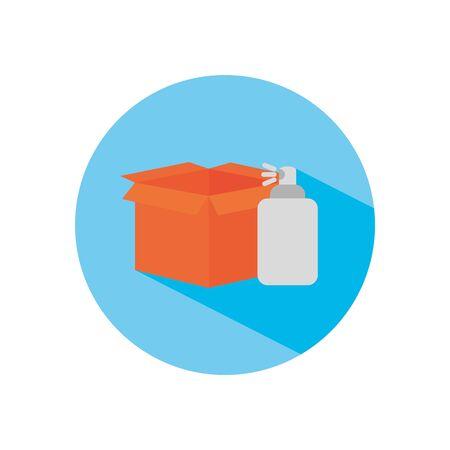 box and antibacterial can icon over white background, block flat style, vector illustration Vektoros illusztráció