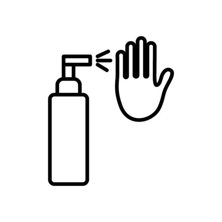 antibacterial spray bottle and hand icon over white background, line style, vector illustration