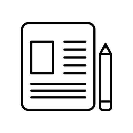 document page and pencil icon over white background, line style, vector illustration 向量圖像