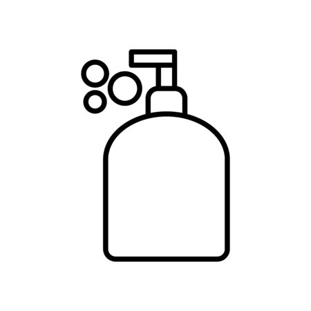 hands soap bottle icon over white background, line style, vector illustration