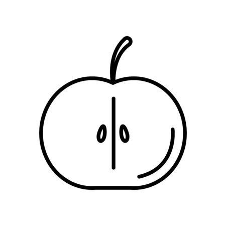 half apple icon over white background, line style, vector illustration Ilustração