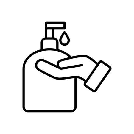 hand with soap bottle icon over white background, line style, vector illustration
