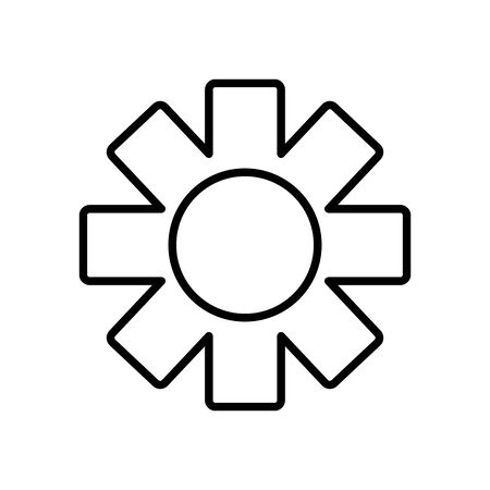 gear wheel icon over white background, line style, vector illustration Illustration