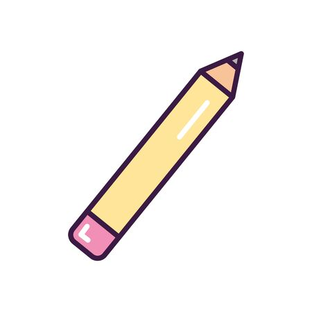 pencil utensil icon over white background, line color style, vector illustration