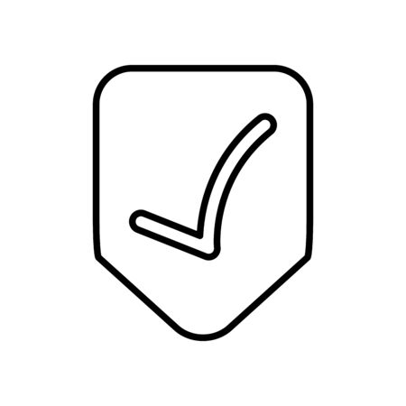 shield with check mark icon over white background, line style, vector illustration Illustration