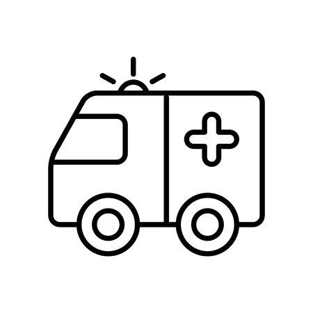 ambulance vehicle icon over white background, line style, vector illustration
