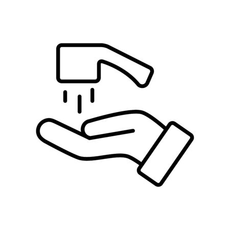 handwashing concept, hand and water faucet icon over white background, line style, vector illustration