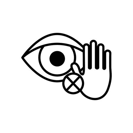 dont touch your eyes symbol, eyes with stop hand and cross icon over white background, line style, vector illustration Illustration