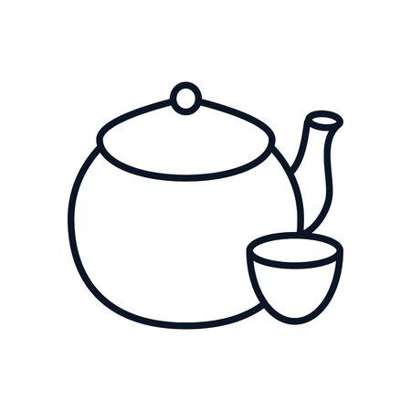japanese teapot culture utensil icon vector illustration design