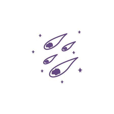 meteorite space with flames icon vector illustration design Vektorgrafik