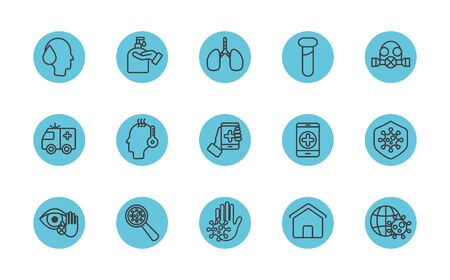 lungs and coronavirus protective measures icon set over white background, block line style, vector illustration
