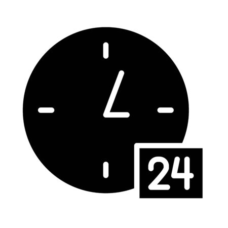 24 hours symbol, clock icon over white background, silhouette style, vector illustration