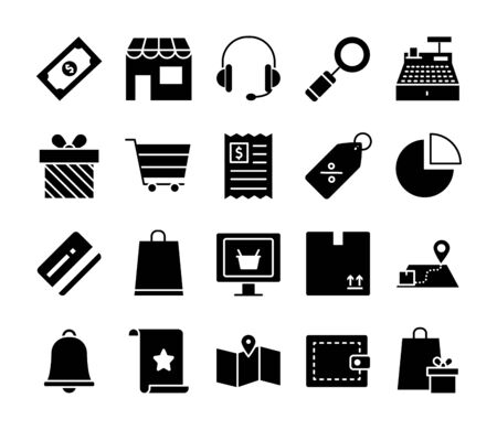 store and shopping online icon set over white background, silhouette style, vector illustration