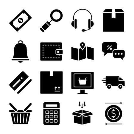 headphones and shopping online icon set over white background, silhouette style, vector illustration Ilustración de vector