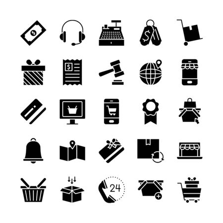 headphones and shopping online icon set over white background, silhouette style, vector illustration Иллюстрация