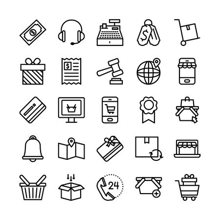 headphones and shopping online icon set over white background, line style, vector illustration