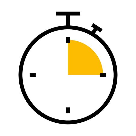 chronometer icon over white background, half line half color style, vector illustration Çizim