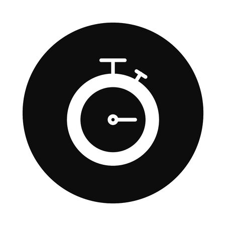 chronometer icon over white background, block style, vector illustration