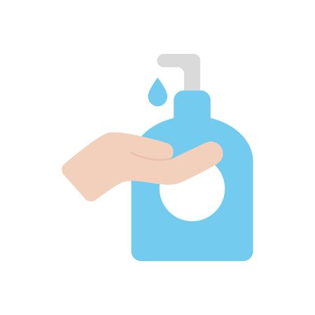 hand and soap bottle icon over white background, flat style, vector illustration Illustration