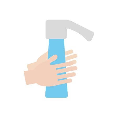 handwashing concept, water faucet and hands icon over white background, flat style, vector illustration