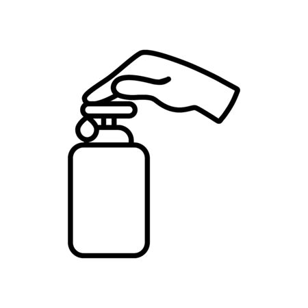 hand pushing the soap bottle icon over white background, line style, vector illustration