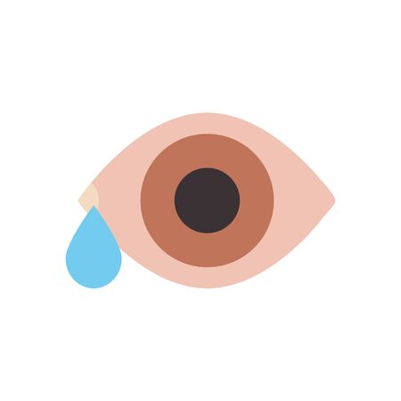 watery eye icon over white background, flat style, vector illustration 일러스트