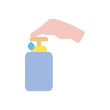 hand pushing the soap bottle icon over white background, flat style, vector illustration Illustration
