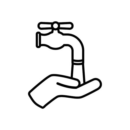 hand and water faucet icon over white background, line style, vector illustration  イラスト・ベクター素材