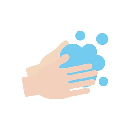 handwashing concept, hands with soapy water icon over white background, flat style, vector illustration