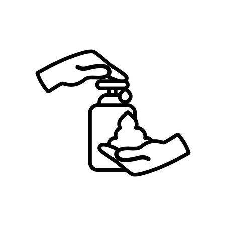 hands and soap bottle icon over white background, line style, vector illustration