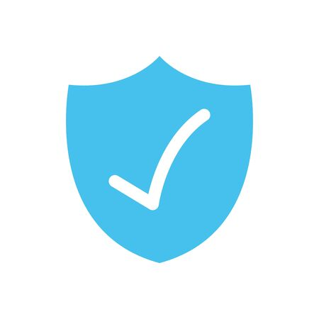 security shield with check mark icon over white background, flat style, vector illustration