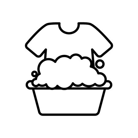 bucket with soapy water and tshirt over white background, line style, vector illustration