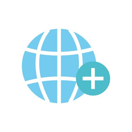 global sphere with medical cross icon over white background, flat style, vector illustration 일러스트