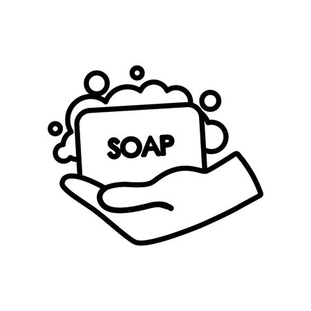 hand with soap bar icon over white background, line style, vector illustration