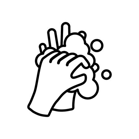 hands with water and soap over white background, line style, vector illustration 스톡 콘텐츠 - 147922538