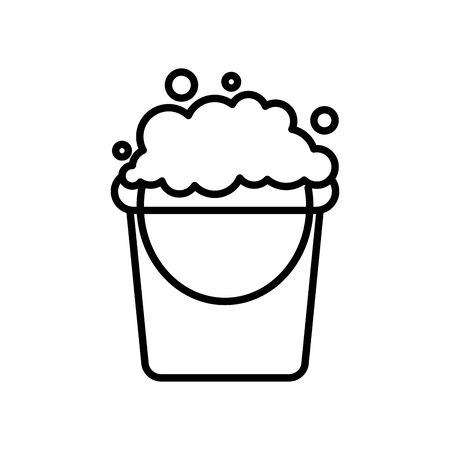 cleaning bucket with soapy water icon over white background, line style, vector illustration