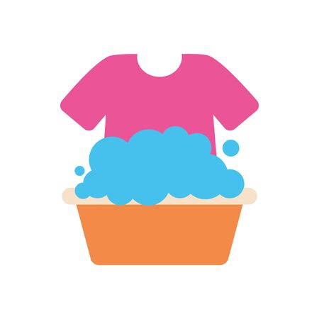bucket with soapy water and tshirt over white background, flat style, vector illustration