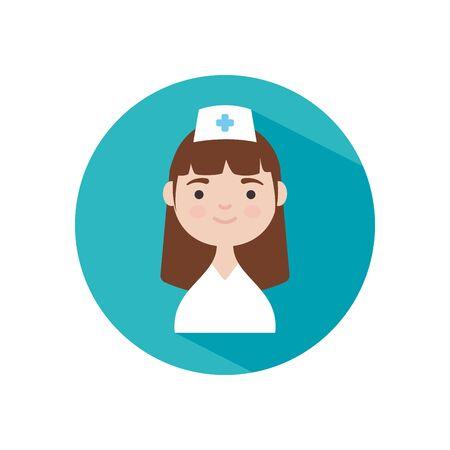 cartoon nurse smiling icon over white background, block style, vector illustration