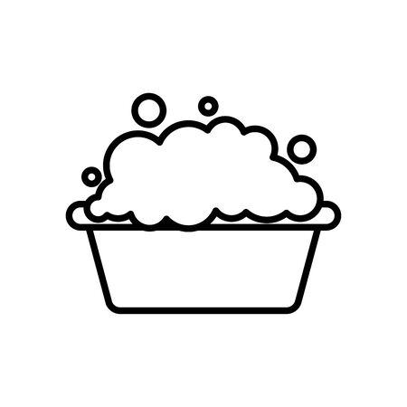 bucket with soapy water icon over white background, line style, vector illustration 일러스트