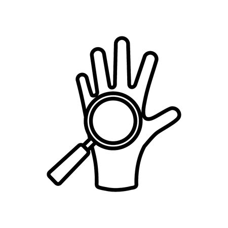 clean hand and magnifying glass icon over white background, line style, vector illustration