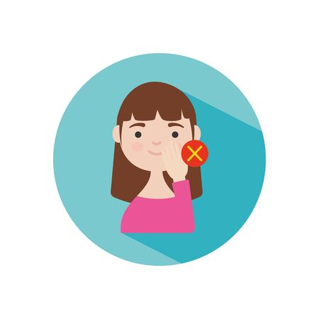 coronavirus preventions concept, Dont touch your face to prevent infection, cartoon woman touching her face over white background, block style, vector illustration Illustration