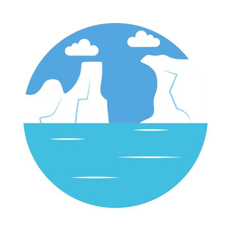 icebergs and ocean landscape icon over white background, flat style, vector illustration