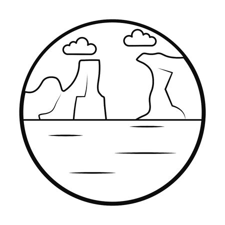 icebergs and ocean landscape icon over white background, line style, vector illustration