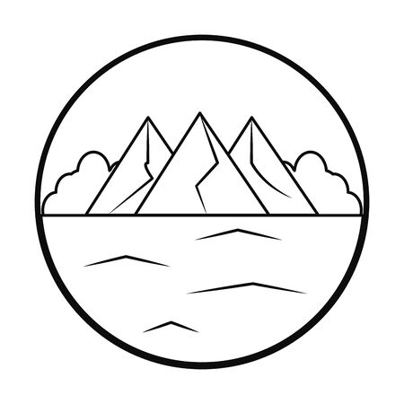 Ice mountains and ocean landscape over white background, line style, vector illustration