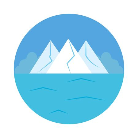 Ice mountains and ocean landscape over white background, flat style, vector illustration